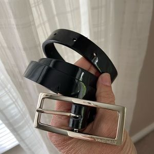 Nine West Vegan black patent belt
